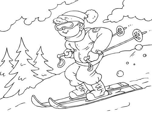 Лыжники раскраска