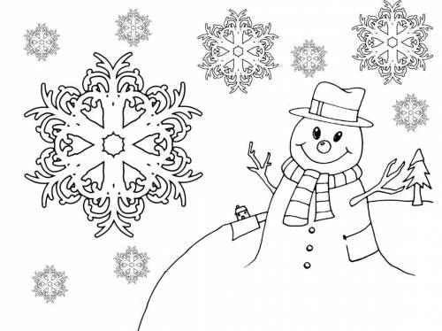 Снежинки раскраски для детей - 6